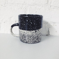 Speckled Mug Black and White Porcelain, Coffee Mug Made to Order