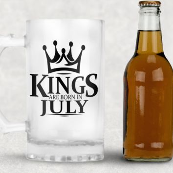 Kings are Born in July Frosted Beer Mug, 16oz Frosted Beer Stein