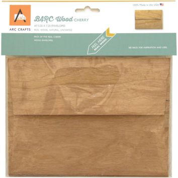 Cherry Veneer Real Wood Envelopes - A7 Size, Set of 5, BARC Wood by ARC Crafts