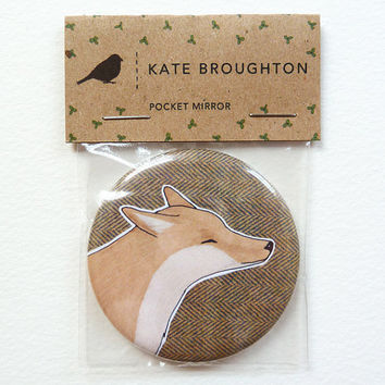 Fox pocket mirror by katebroughton on Etsy