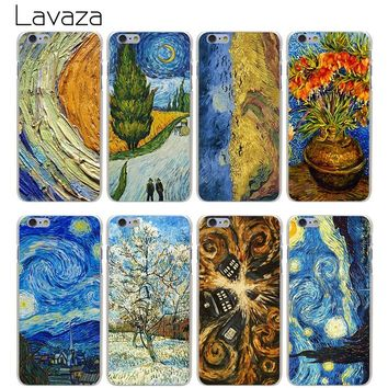 Lavaza High Quality Phone Cases Van Gogh Tardis Hard Transparent Cover Case for iPhone X 10 8 7 6 6S Plus 5 5S SE 5C 4 4S