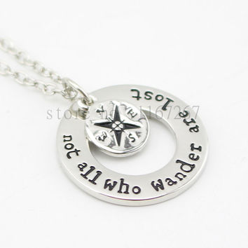 """2015 Hot !Wanderlust handstampe Jewelry Travelers Necklace Wanderlust """" Not All Who Wander Are Lost"""" Inspirational Jewelry"""
