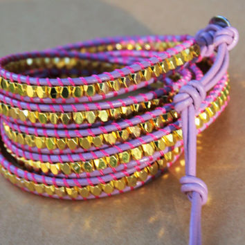 Five Leather Wrap Bracelet - Purple Leather and Gold Nugget Bead Five Wrap Bracelet - Layering Jewelry - Bohemian Jewelry - Boho Chic