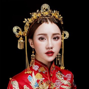 Gold Color Ancient Headdress Headpiece Chinese Style Bridal Wedding