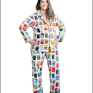 New White Playbill Pajamas for Women