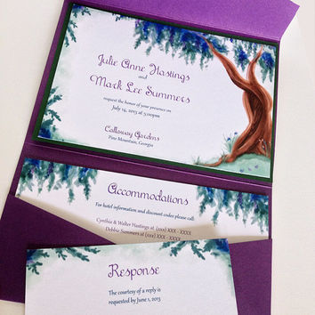 Hand Painted Garden Tree Signature Wedding Linen Invitation Suite Pocketfold