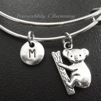 Sale.....Koala bear charm bracelet, Stainless Steel Expandable Bangle, monogram personalized item No.707