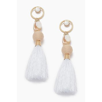 Gemstone Tassel Earrings - Ivory White