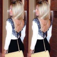 2014 Spring autumn fashion women black big V lace flower on the back shirt backless sexy girl blouse = 1667480516