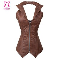 Vintage Brown Faux Leather Bustier Steampunk Corset Waist Slimming Corsets Steel Boned Cowgirl Burlesque Costume Corselet Zipper