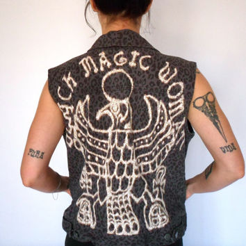 Black Magic Woman Leopard Print Cut Off Denim Jacket Vest Bleach Upcycled