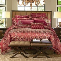 Cool 4/6/9 pieces King queen size Luxury Bedding set yarn home decorative bed duvet cover set tassels wedding bed sheet set giftsAT_93_12