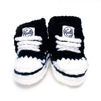 Crocheted Baby Booty Slippers Chuck Taylors Sneakers Black