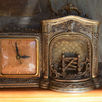 "Vintage Mantel Clock - Electric Tabletop Clock - 1950's ""Fireplace Clock""  - United Clock Co. - Vintage Brass Clock - Novelty Clock"