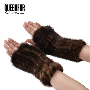 100% Real Mink Fur Gloves With Elastic Fashion Women High Density Knit Warm Glove 2017 New Unisex Natural Fur Fingerless Mittens