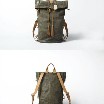 Leather backpack for Men Gray Leather  Backpack Large Original Backpack Vintage looking Backpack