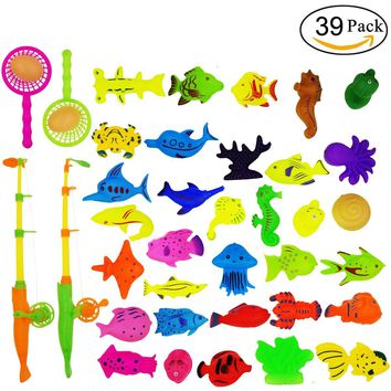 M-jump Bath Beach Toy,39 PCS Magnetic Fishing Toy - Ocean Creatures, Duck, Egg, Fishing pole and Fishing net - Learning Education Toys For Kids,Fishing Game For Kids Party Favors