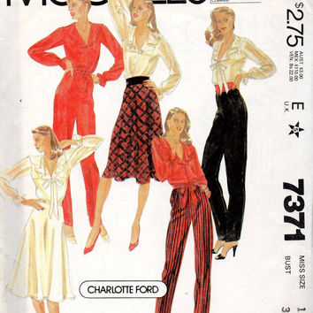 McCall's 7371 Sewing Pattern Button Front Romantic Peasant Blouse Ruffled Collar Shirt Flared Skirt High Waist Pants Disco Fashion Bust 34