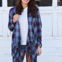 Mad For Plaid Lightweight Cardigan {Navy}