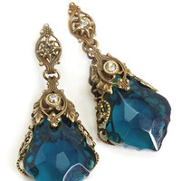 Jewelry by Sweet Romance Teal Filigree Prism Earrings - Unique Vintage - Prom dresses, retro dresses, retro swimsuits.