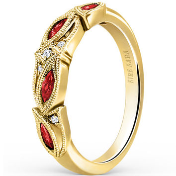 "Kirk Kara ""Dahlia"" Marquise Cut Ruby Diamond Wedding Band"