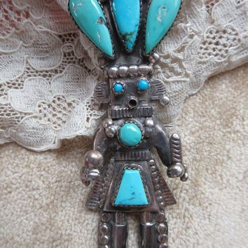 Vintage Native American Zuni  Alonzo Hustito Kachina Corn Dancer Pin Pendant Sterling Turquoise