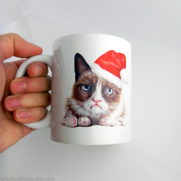 Grumpy Cat; Santa; Ceramic Mug; Geek