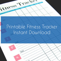 Printable Weekly Fitness Tracker - Stylish and Minimal - A4, A5 & 8.5 x 11 - Pink and Blue
