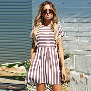 A-Line Striped Short Sleeve Mini Sundress
