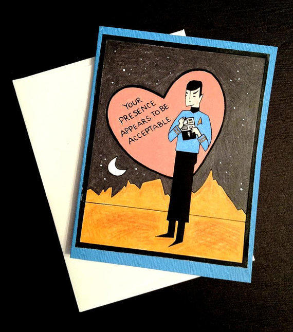 $4.00 Star Trek Spock Valentine's Day Card by LeaseAPenny on Etsy