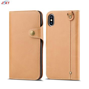 xFSKY 4 Colors New Fashion Business Style PU Leather Phone Stand Card Holder Anti-Knock Wallet Case For Apple iphone X Phone Bag