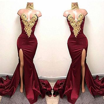 Prom Dresses High Halter Strapless Evening Dresses Slit