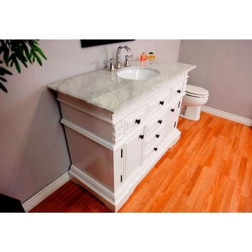 50 in Single sink vanity in white with white marble top