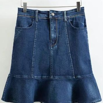 A| Chicloth High Waist Bodycon Denim Ruffle Skirt