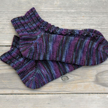 Knit socks for women in multicolor purple shades, wool socks