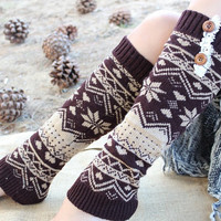 Women's Knitted Leg Warmer or Boot with Venice Lace and Buttons Cute  and Warm Brown and cream   color