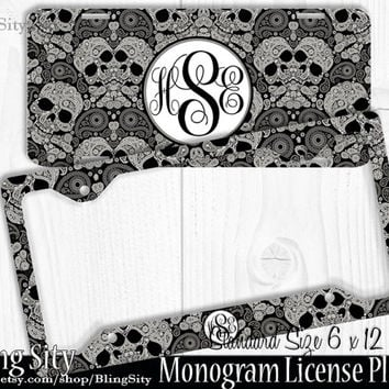 Sugar Skulls Monogram License Plate Frame Holder Metal Wall Sign Car Truck Tags Personalized Custom Vanity Skull Day Dead