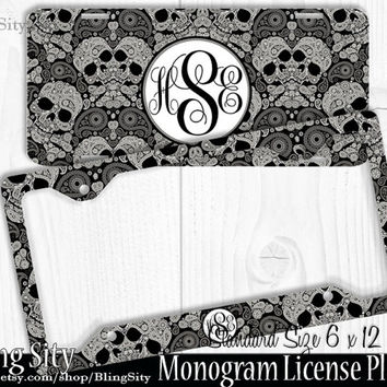 sugar skulls monogram license plate frame holder metal wall sign car truck tags personalized custom vanity