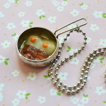 Bacon and Eggs Frying Pan Mini Food Necklace, Polymer Clay