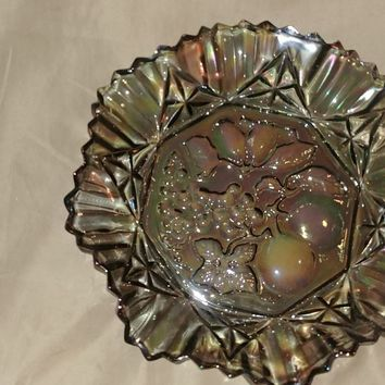"Vintage Carnival Glass 10"" Dish (Grape Pattern)"