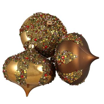 "3ct Brown Glitter Sequin Beaded Shatterproof Christmas Onion Ornaments 4"" 100mm"