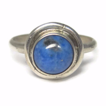 Simple Vintage Sterling Native American Denim Lapis Ring Size 8