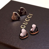 GUCCI Heart Type Lettering Women Gold Earring