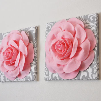 TWO Light Pink Roses on Gray and White Damask Canvases Wall Art