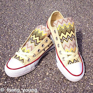 Yellow Chevron Converse Low Top Sneakers Pastel Yellow Custom Chuck Taylors