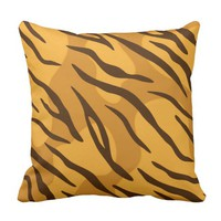 Amber Orange Tiger Skin Pattern Throw Pillow