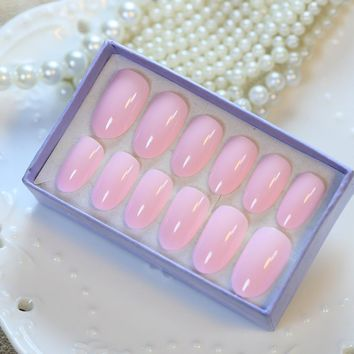 New Candy 24 PCS Solid Pink Long Acryli Nail Tips Oval Full Smooth False Nails with Glue Sticker Design nep nagels