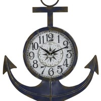 Anchor Clock Distressed Blue Finish with Rust Accents; Under Glass