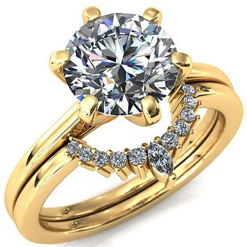 Shelby Round Moissanite 6 Prong Solitaire Cathedral Engagement Ring