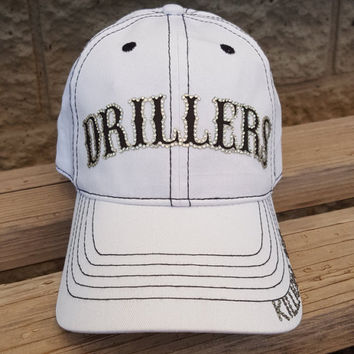 Baseball Bling Hats, Custom Baseball Team Hats for Mom, White Drillers Baseball Cap with black contrast stitching- Many colors available!